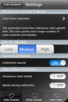Screenshot Color Scanner Settings