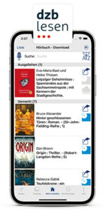 IPhone with running dzb lesen app. The media library is shown on the screen. At the top is the logo of the dzb lesen app.